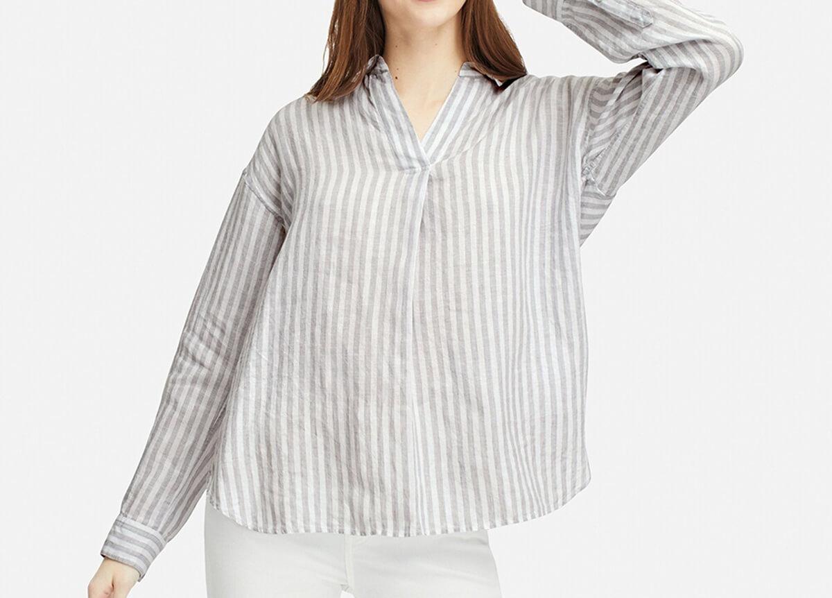 プレミアムリネンストライプスキッパーシャツ(長袖)